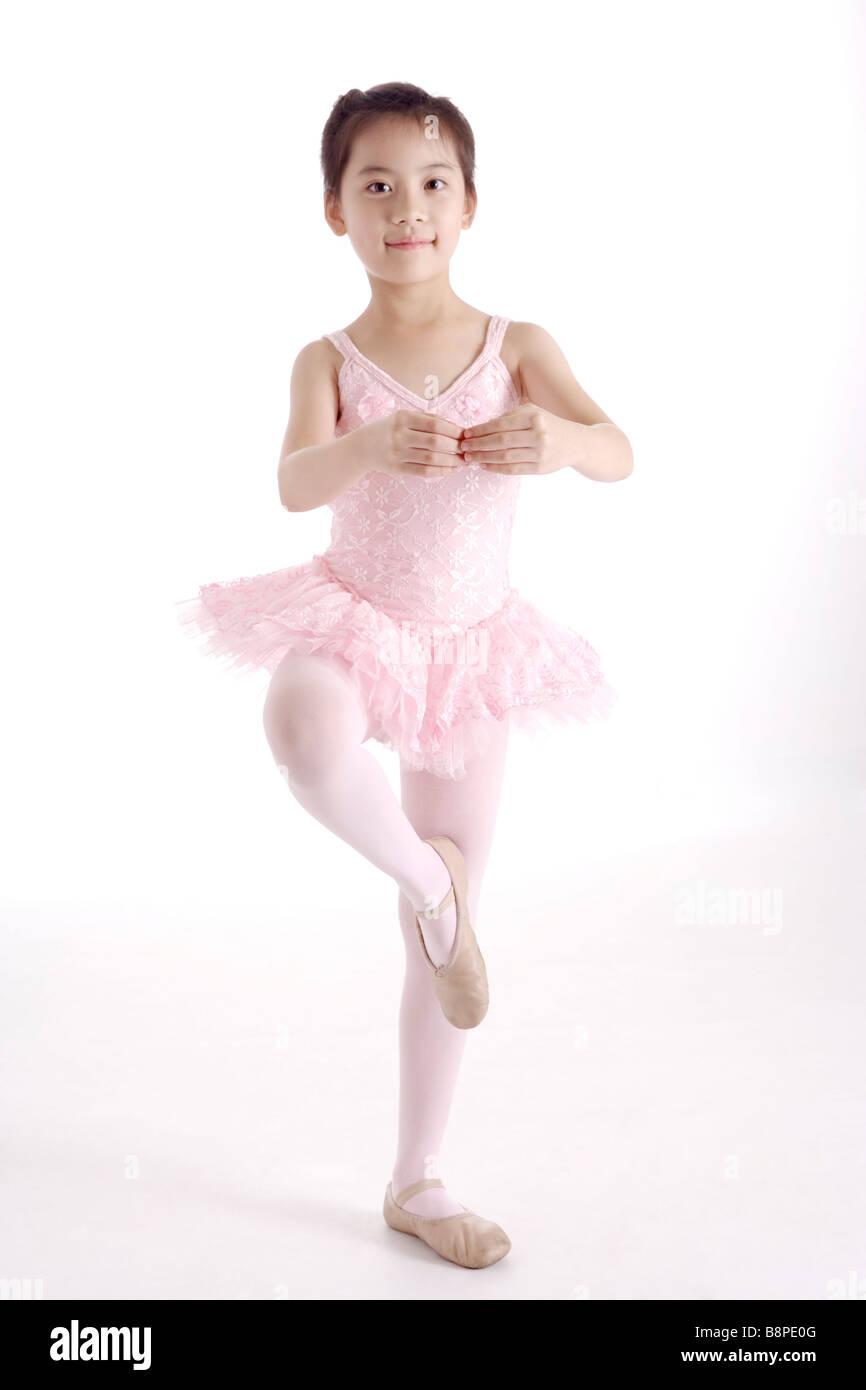 Girl ballet dancing front view portrait - Stock Image