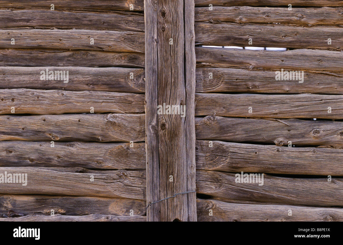 drop-log wall construction, outback Australia Stock Photo