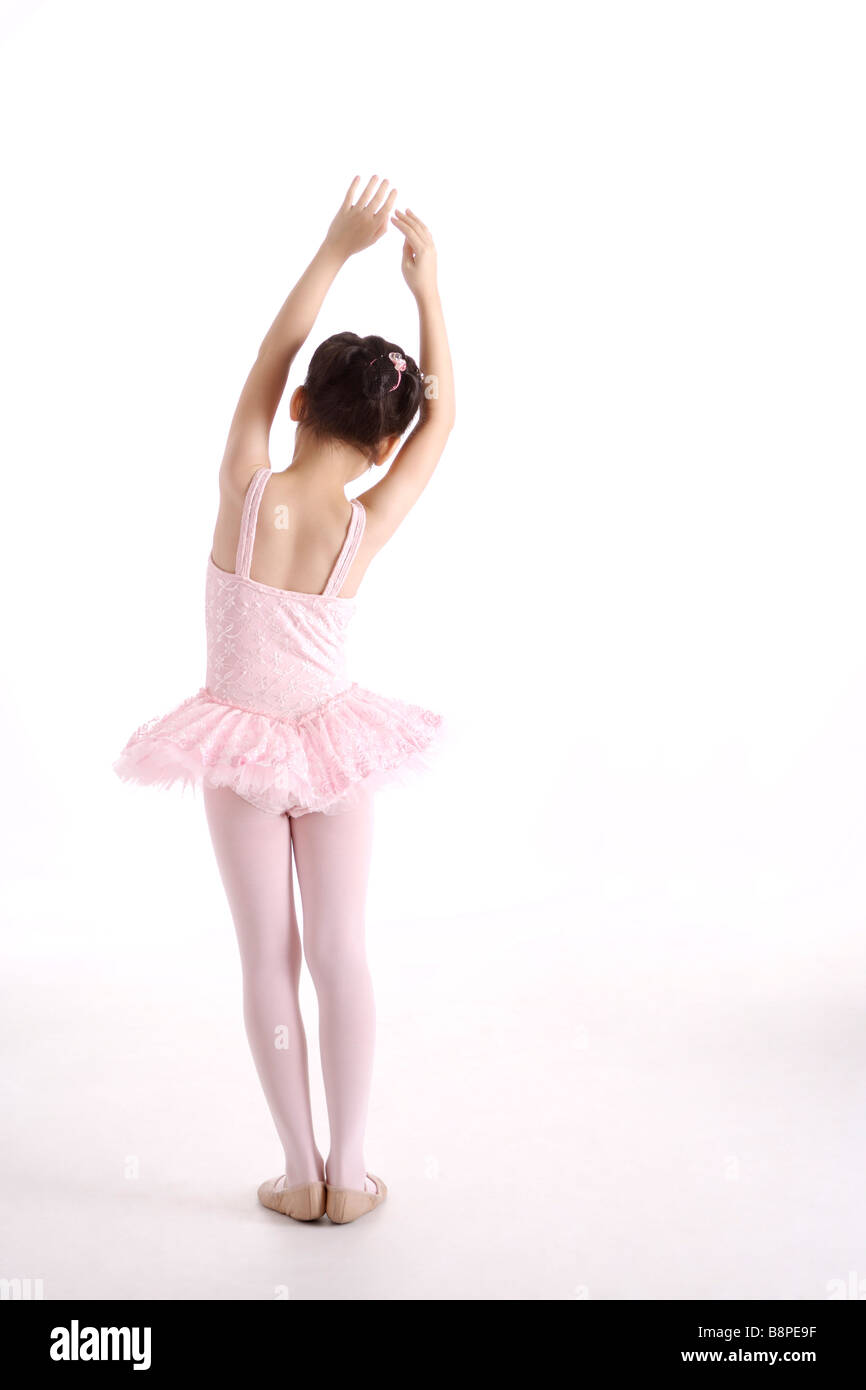 Girl ballet dancing rear view portrait - Stock Image
