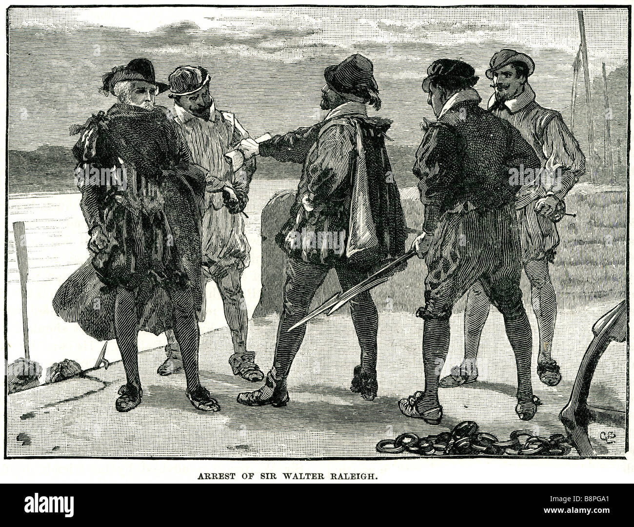 arrest of Sir Walter Raleigh or Ralegh (c. 1552 – 29 October 1618), was a famed English writer, poet, soldier, courtier - Stock Image