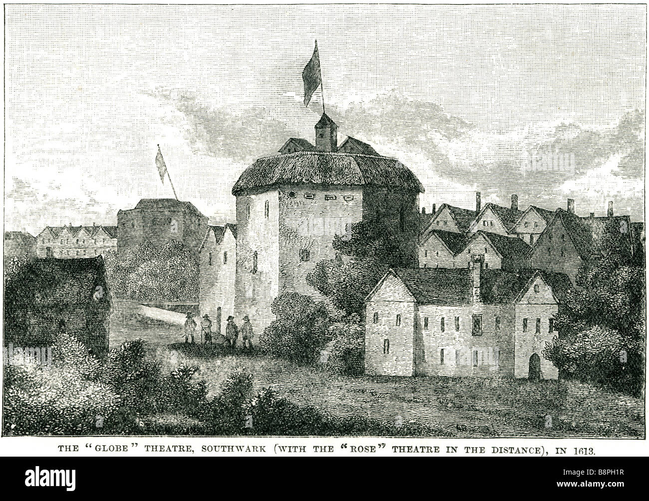 the globe theater southwark with the rose theater in the distance in 1613  The Globe Theatre was a theatre in London associated w