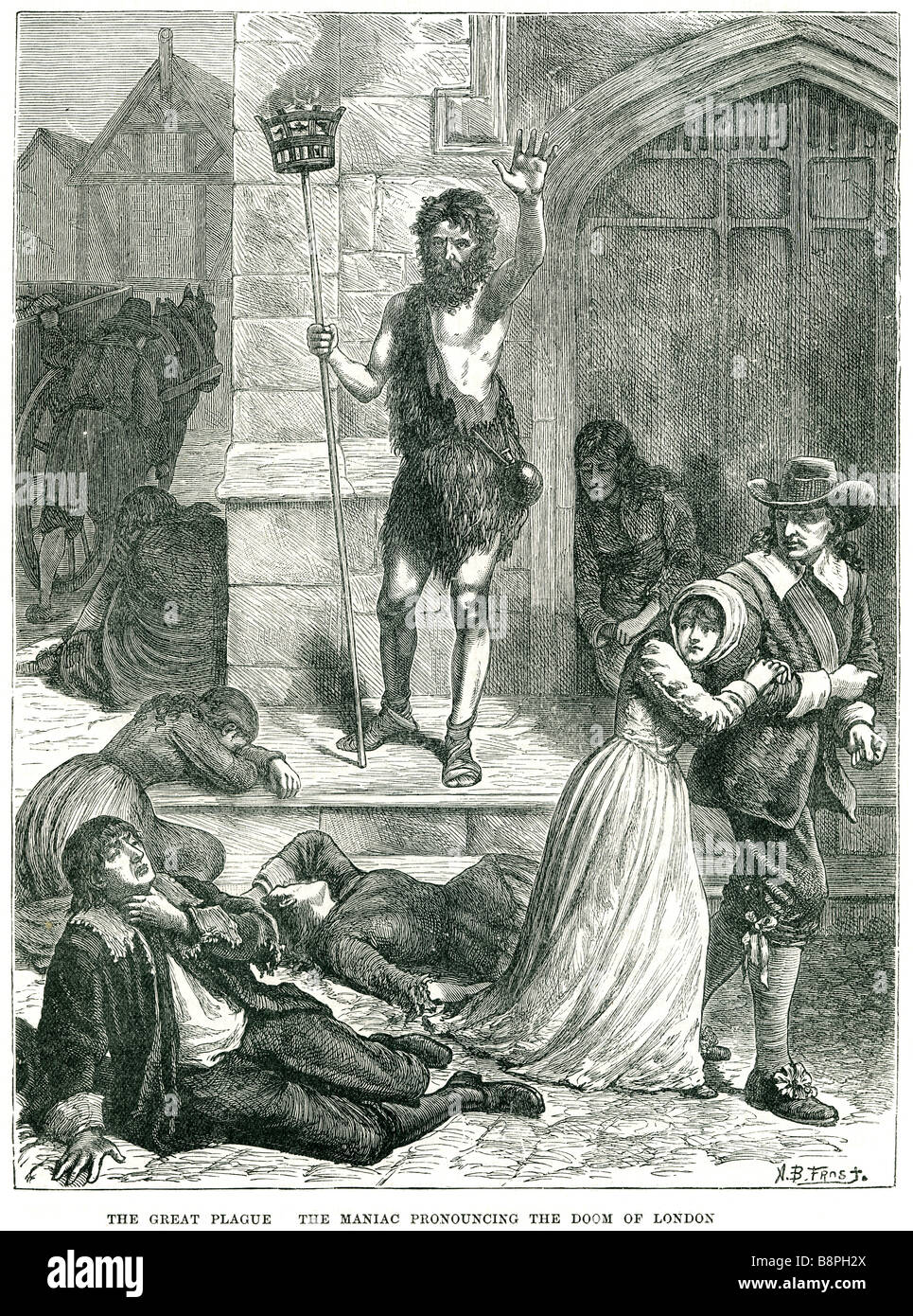 the great plague the maniac pronouncing the doom of london preaching death illness disease street square period - Stock Image