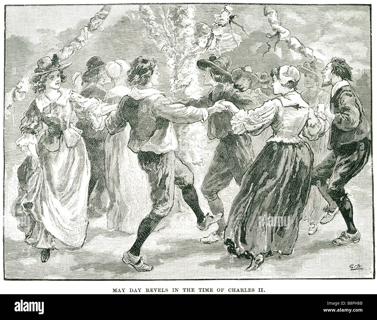 may day revels in the time of charles II dancing party traditional clothing period dress summer park garden pole - Stock Image