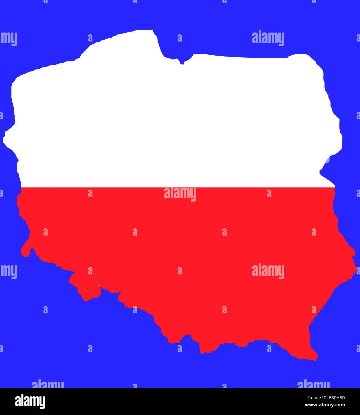 Red Outline Map Of Poland In Colors Flag Isolated On Blue With Clipping Path