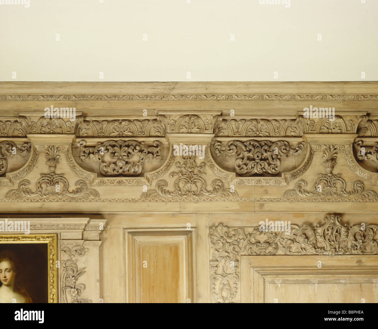 Detail of the entablature in The Drawing Room at Beningbrough Hall - Stock Image
