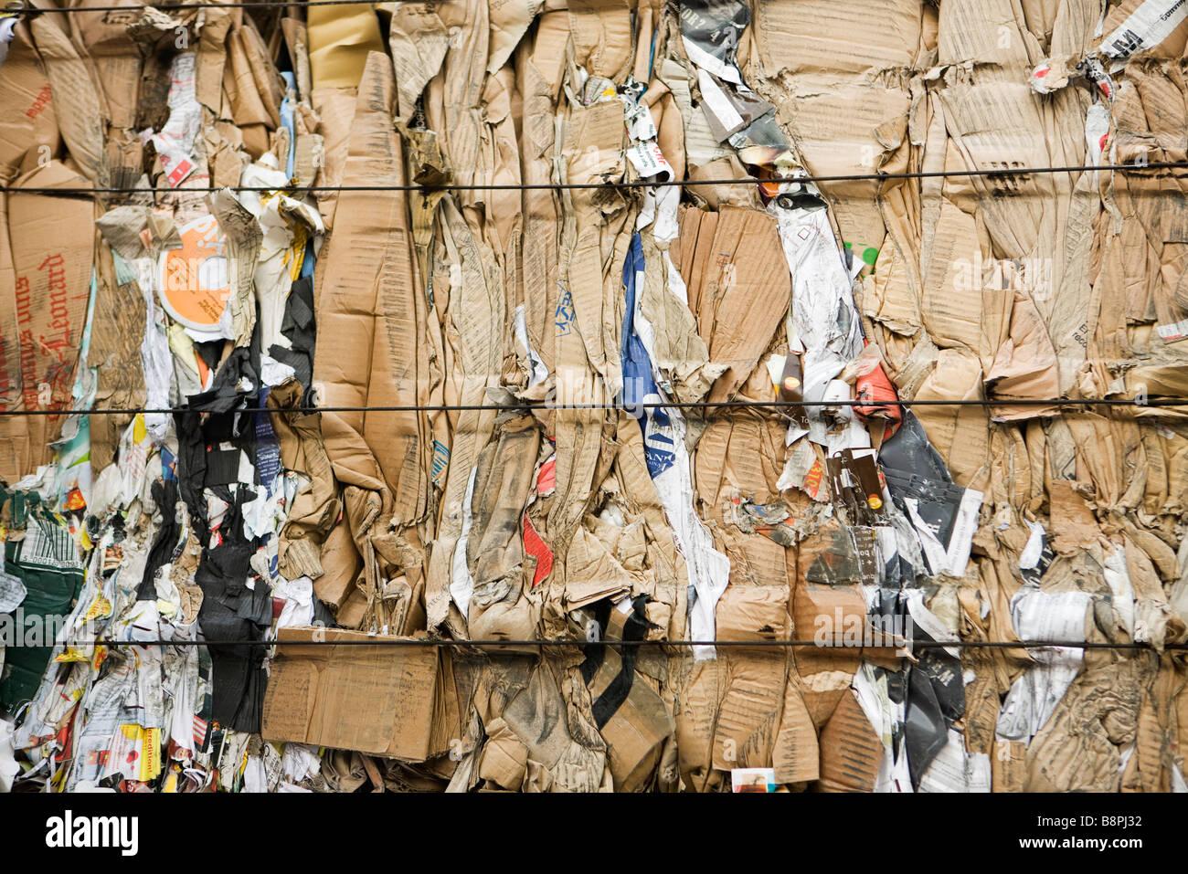 Bale of flattened cardboard, full frame - Stock Image