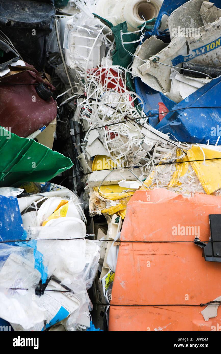 Garbage flattened into bales, full frame - Stock Image