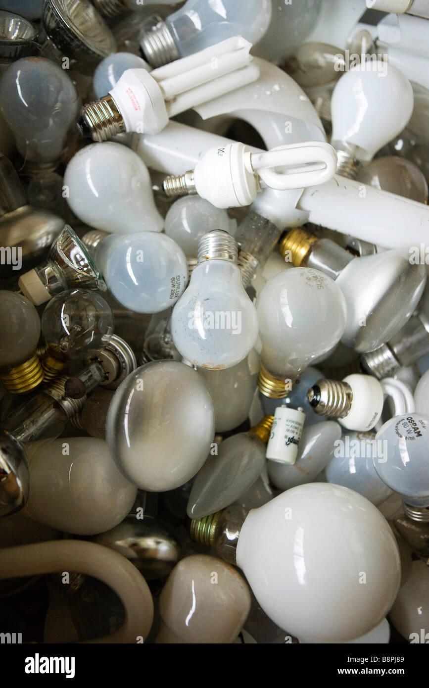 Heap of light bulbs, close-up - Stock Image