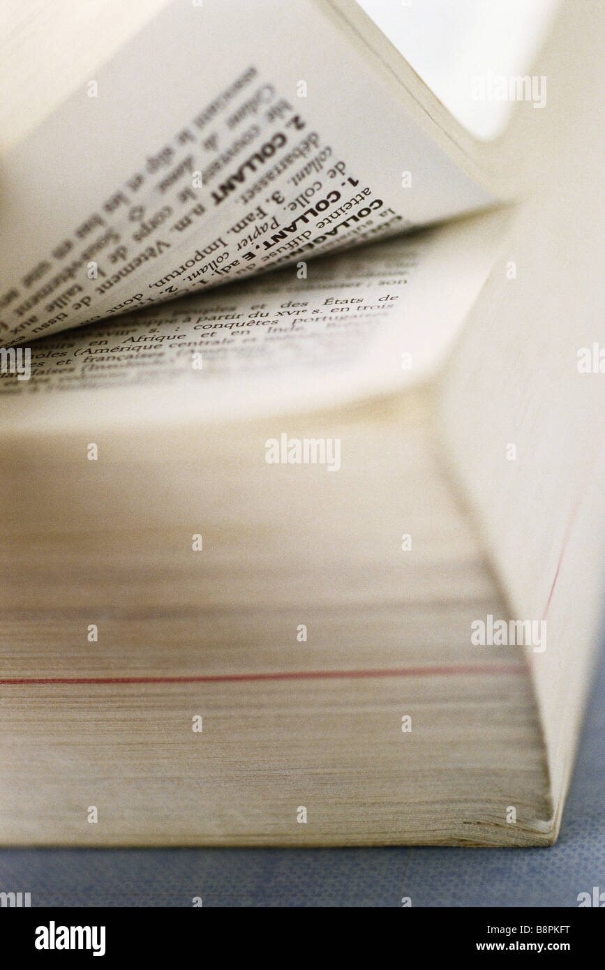 French dictionary, extreme close-up - Stock Image
