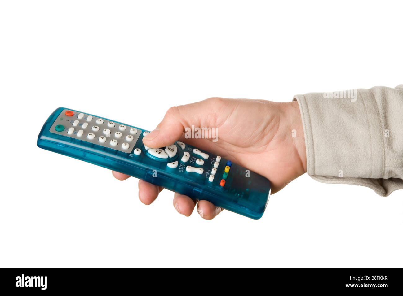 Hand using a TV remote control - Stock Image