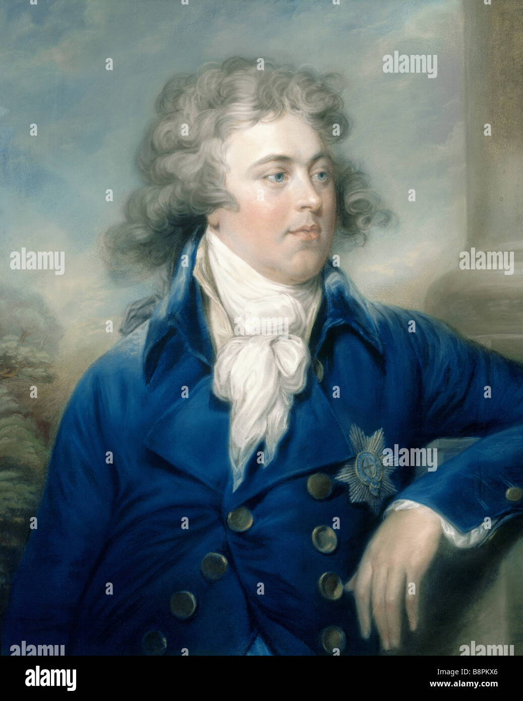 Pastel portrait of PRINCE REGENT after John Russell hanging in the Library - Stock Image