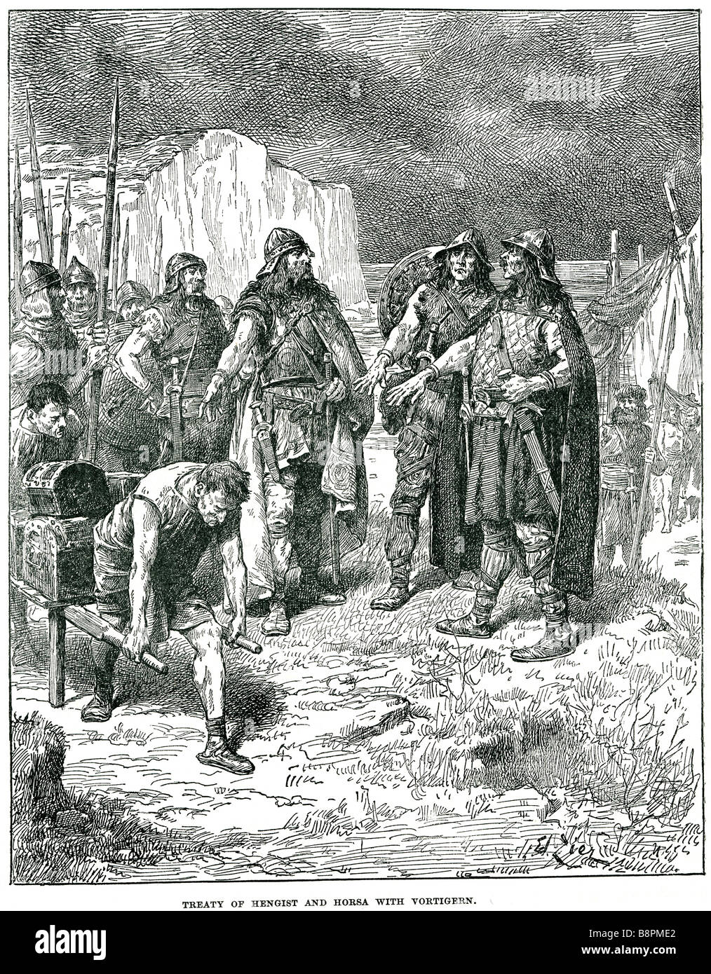 treaty of hengist and horsa with vortigern The Kingdom of Kent was a kingdom of Jutes in southeast England and was - Stock Image