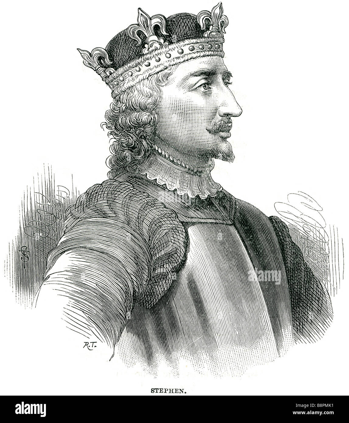 Stephen often known as Stephen of Blois (c. 1096 – 25 October 1154) was a grandson of William the Conqueror. He - Stock Image
