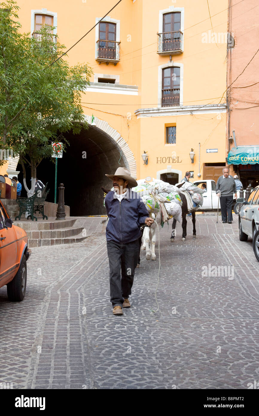 Old Ways and New in Guanajuato, Mexico Stock Photo