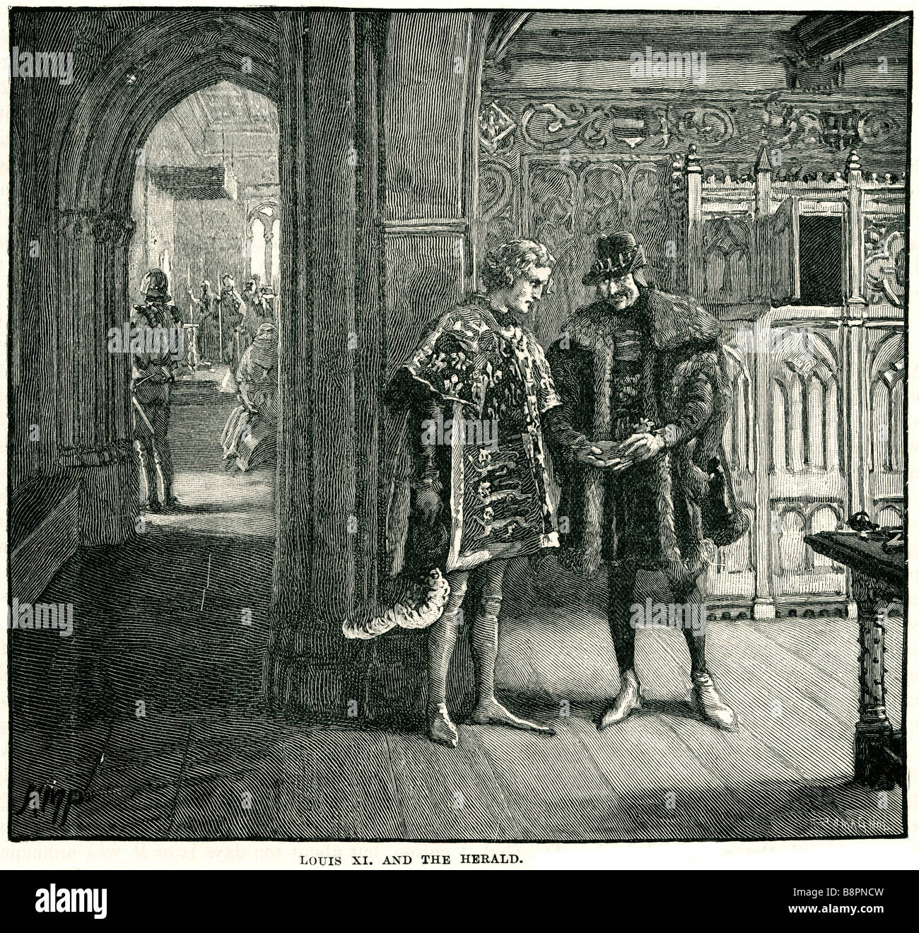 Louis XI and Herald 1423 1483 Prudent Stock Photo