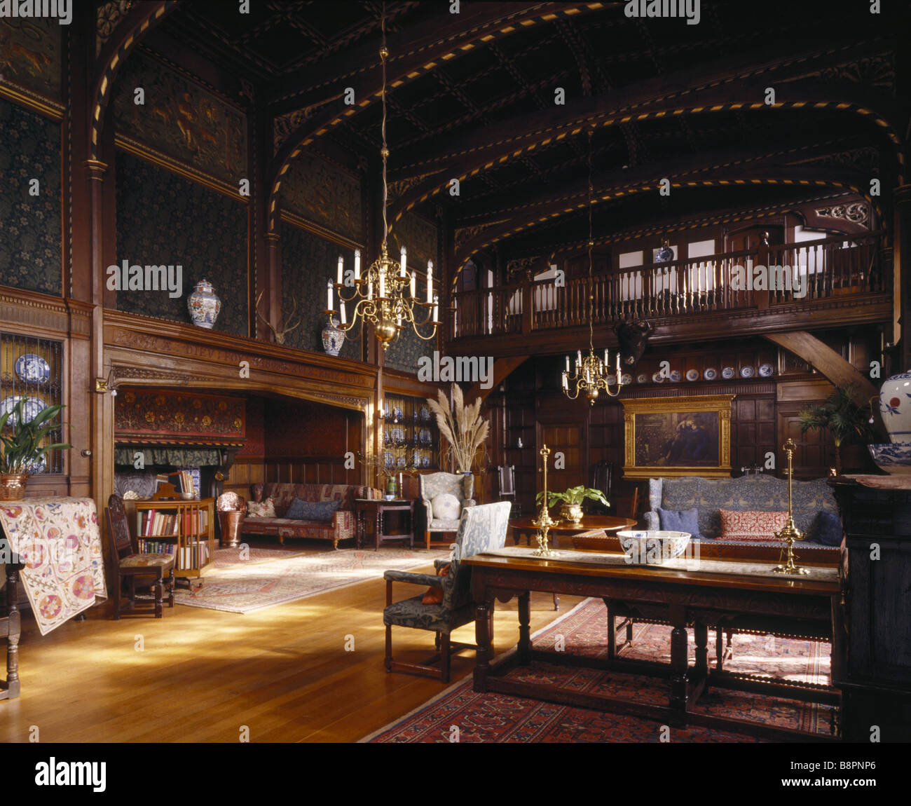 The Great Parlour at Wightwick Manor taken in February 1992 after the re arrangement of the furniture - Stock Image