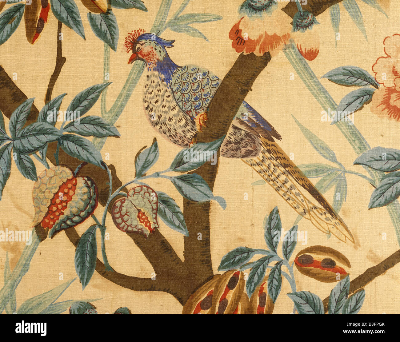 Printed fabric wall hanging at Belton with birds flowers and fruit ...