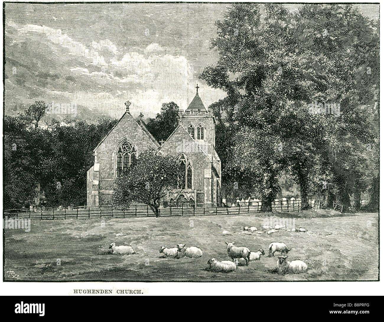 hughenden church 1881 Hitchendon Wycombe district Buckinghamshire England Stock Photo