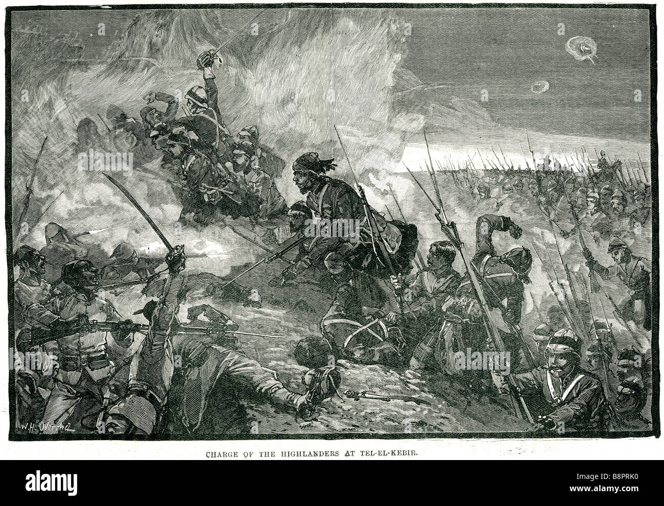 charge highlanders Battle of Tel el-Kebir 1882 Egyptian army British military - Stock Image