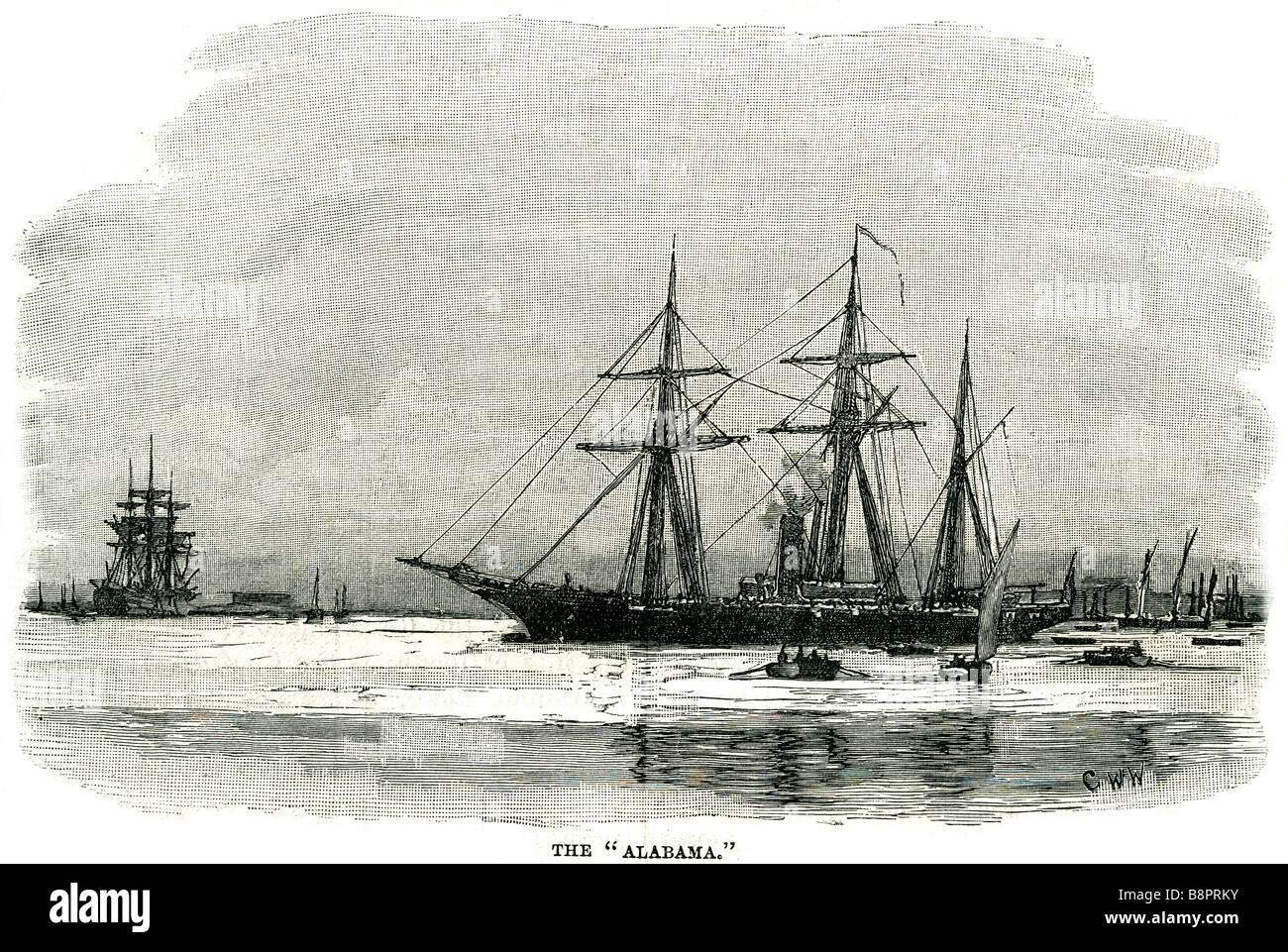 CSS Alabama screw sloop-of-war built 1871 Confederate States Navy Birkenhead United Kingdom - Stock Image