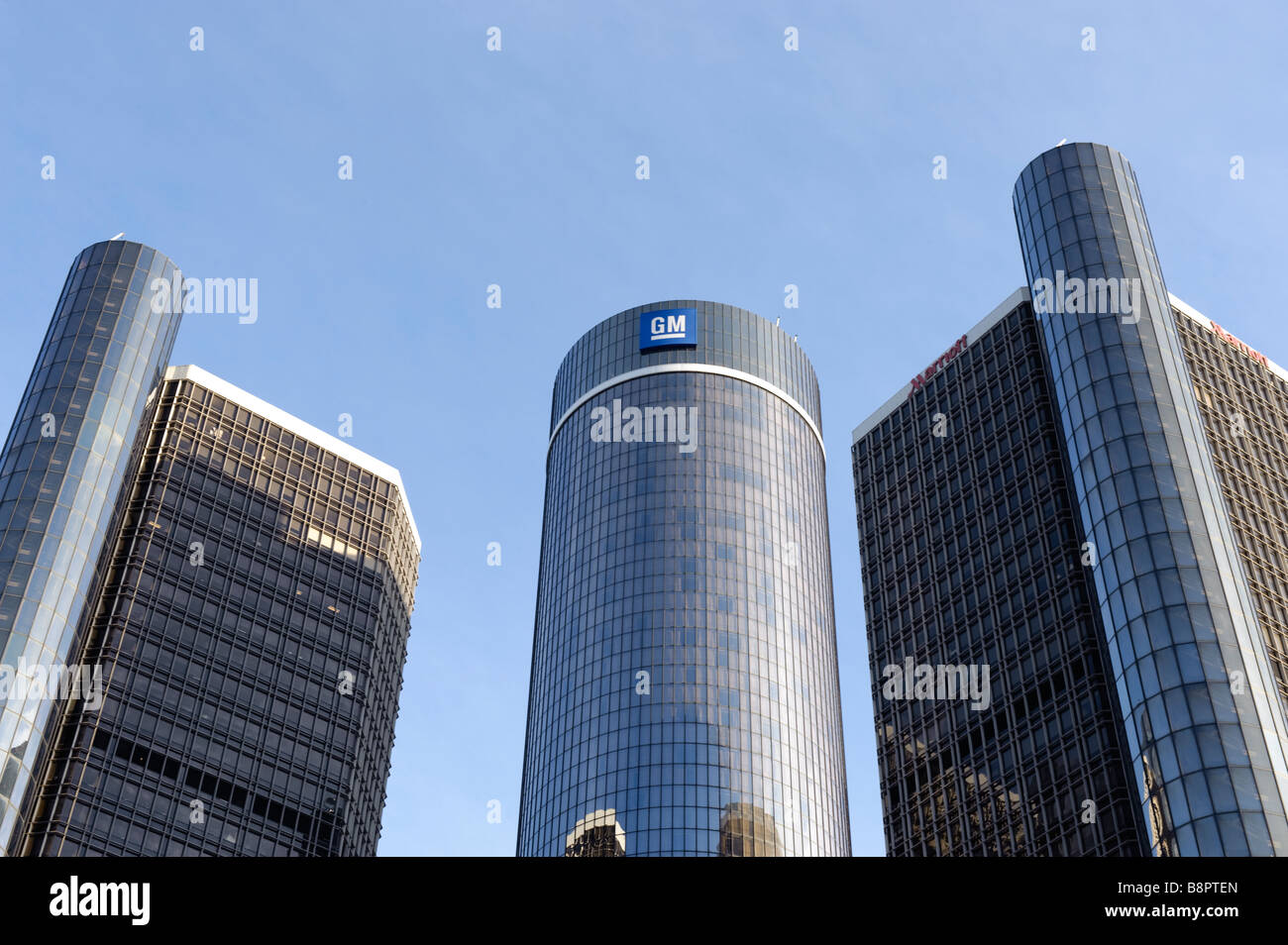 General Motors World Headquarters at the Renaissance Center in Detroit Michigan USA - Stock Image