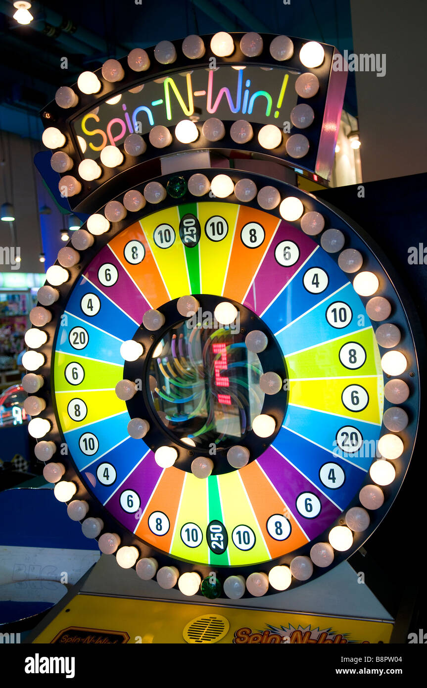 spin wheel in amusement arcade, dubai, uae - Stock Image