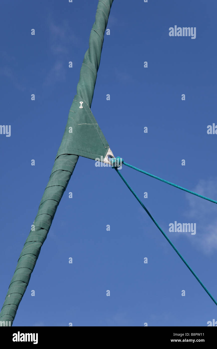 Furled headsail - Stock Image