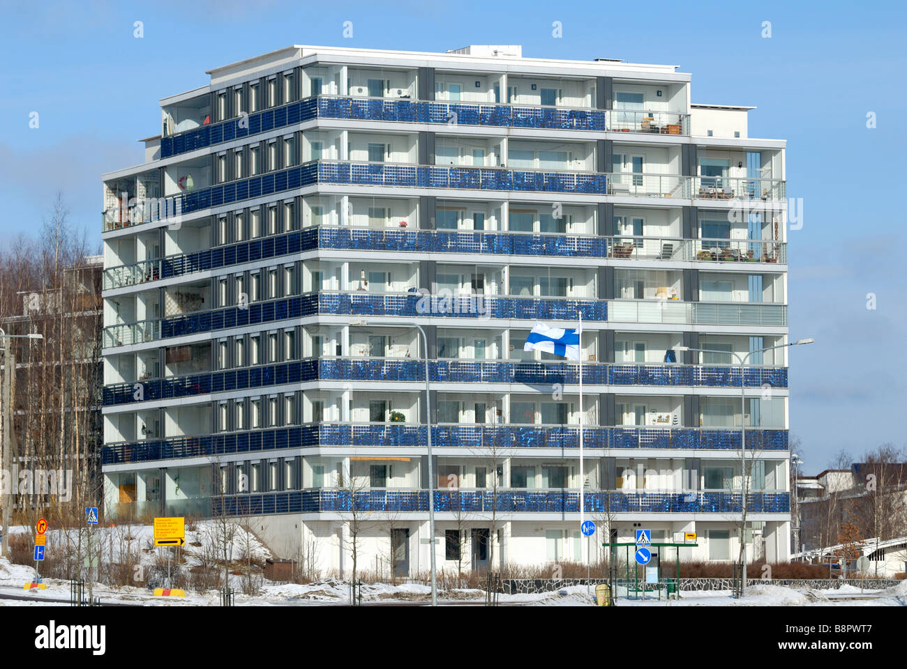 This eco apartment building have 240m2 of photovoltaic modules. The PV cells are integrated.., Helsinki, Finland, - Stock Image