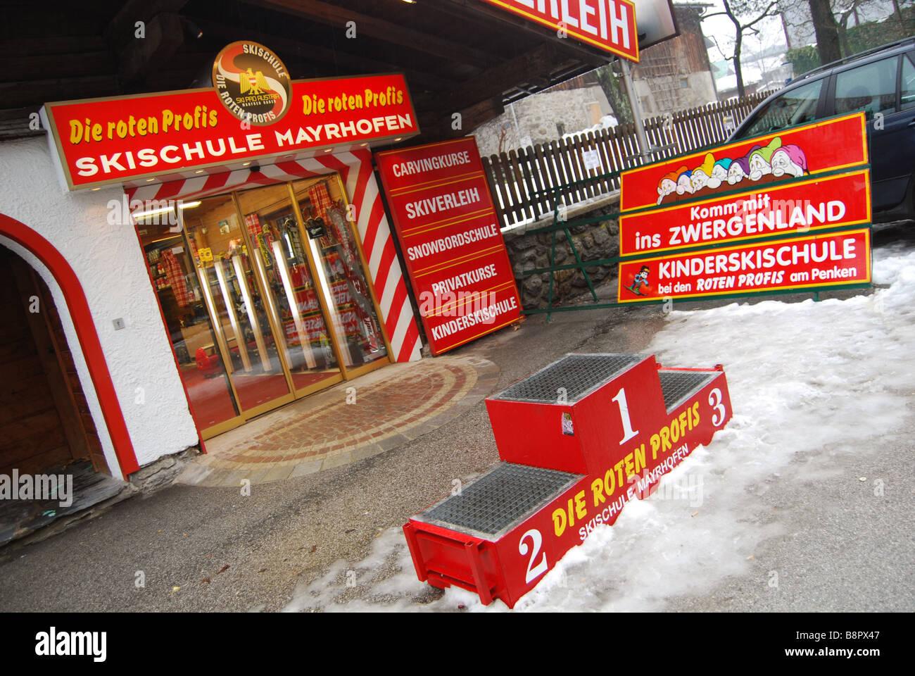 notice boards advertising ski school Mayrhofen Austria Tyrol - Stock Image
