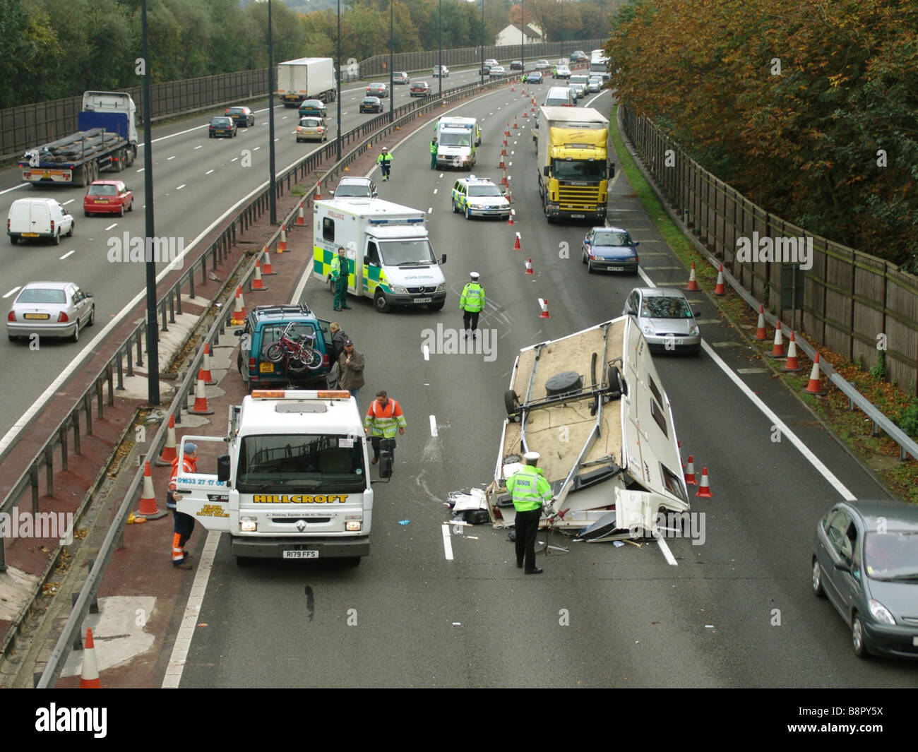 Accident on M4 motorway near the city of Newport South Wales