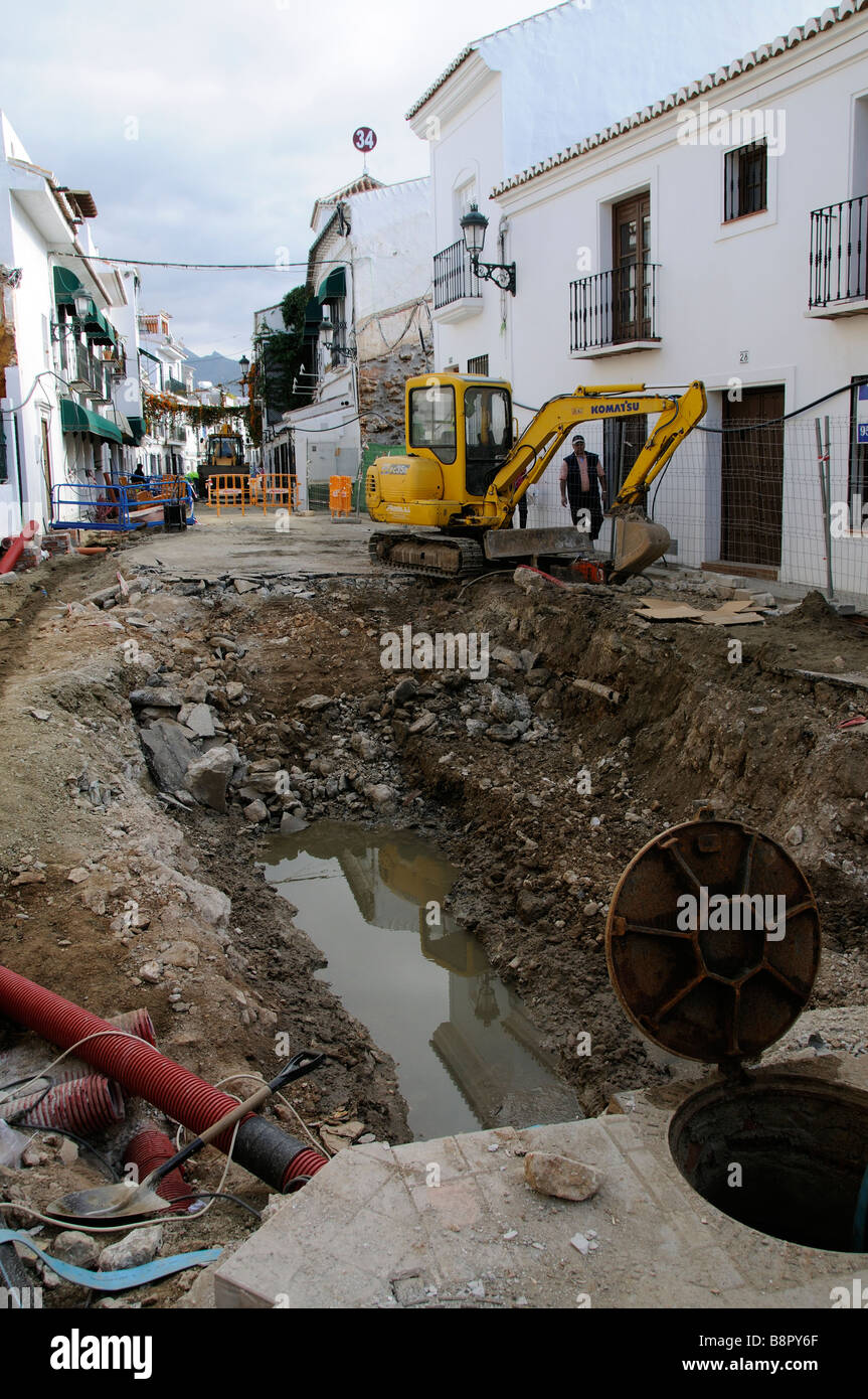 Sewer construction work in the sothern Spanish resort of Nerja - Stock Image