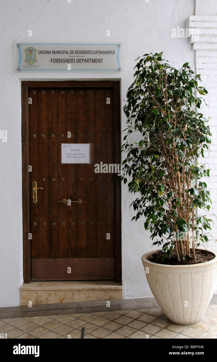 Municipal department for Foreigners entrance door in Nerja southern Spain - Stock Image