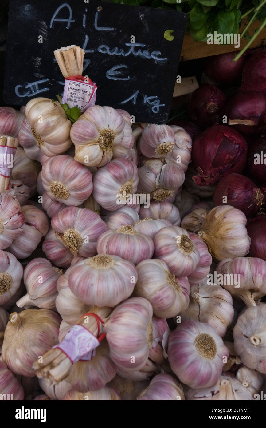 Garlic for sale in a French market Stock Photo