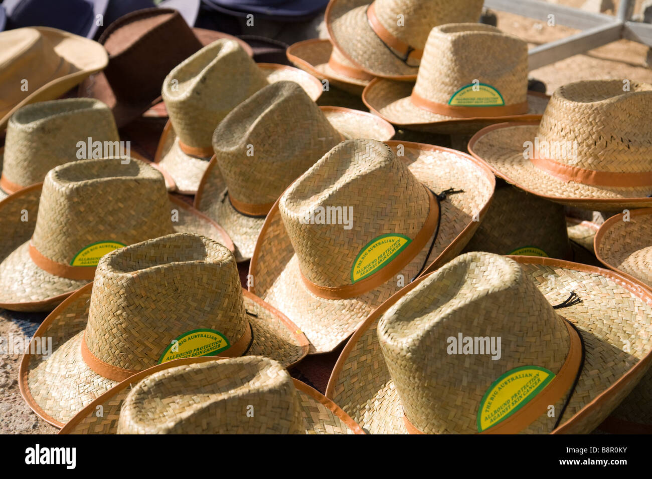 Sun protection hats for sale - Stock Image
