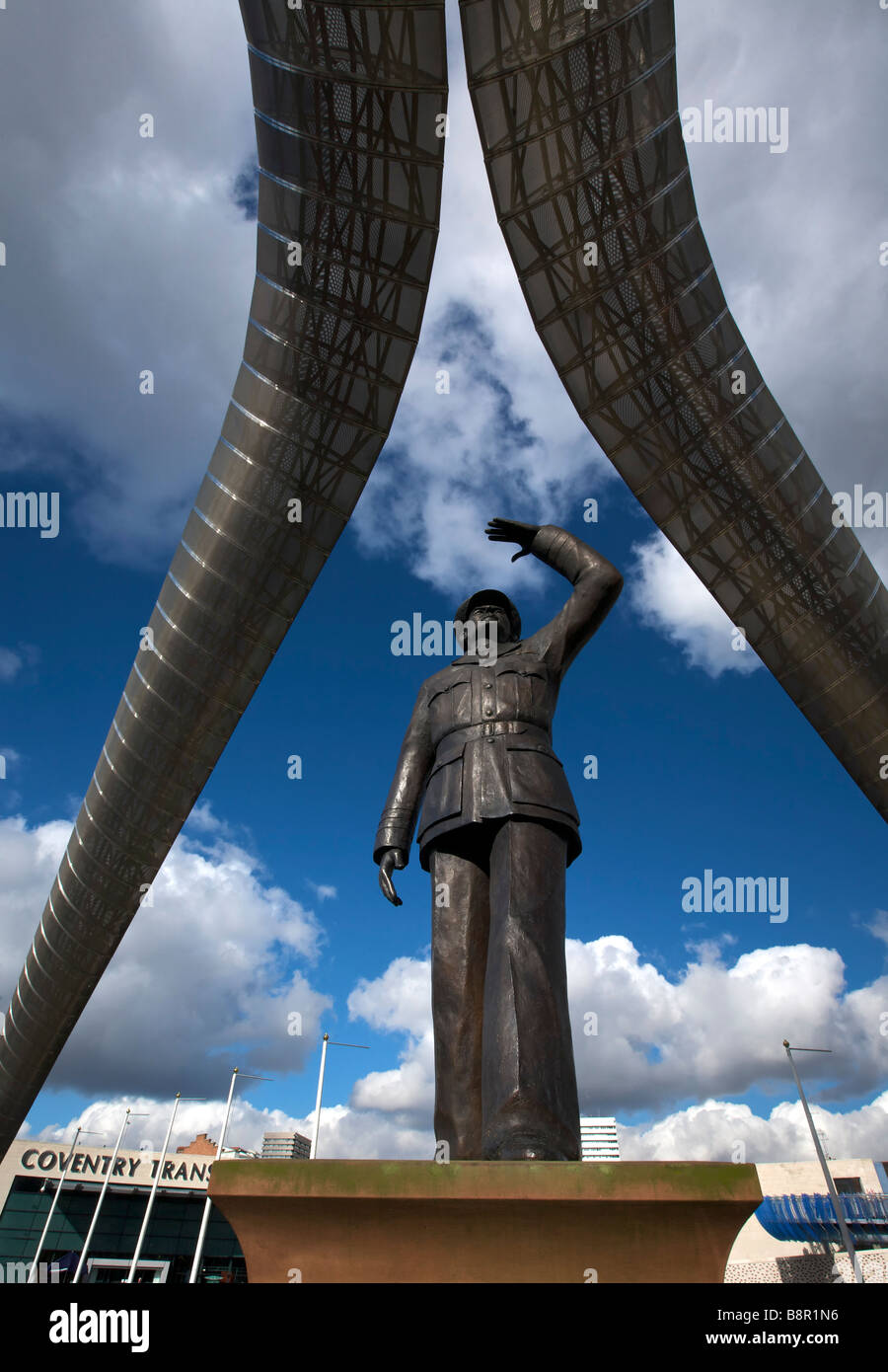 Sir Frank Whittle Sculpture Millennium Place Coventry West Midlands England UK - Stock Image