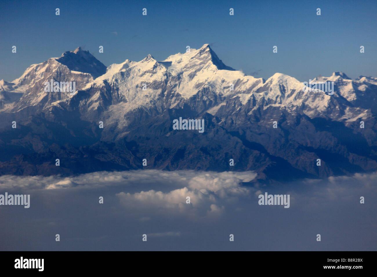 Nepal Himalayas aerial view - Stock Image
