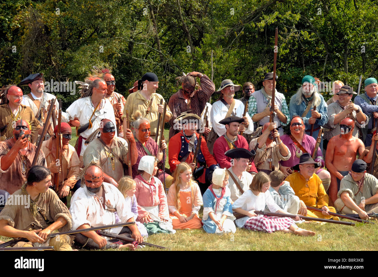 Native American Indian and pioneer reenactors posing for group photo at Fort Boonesborough Kentucky USA - Stock Image