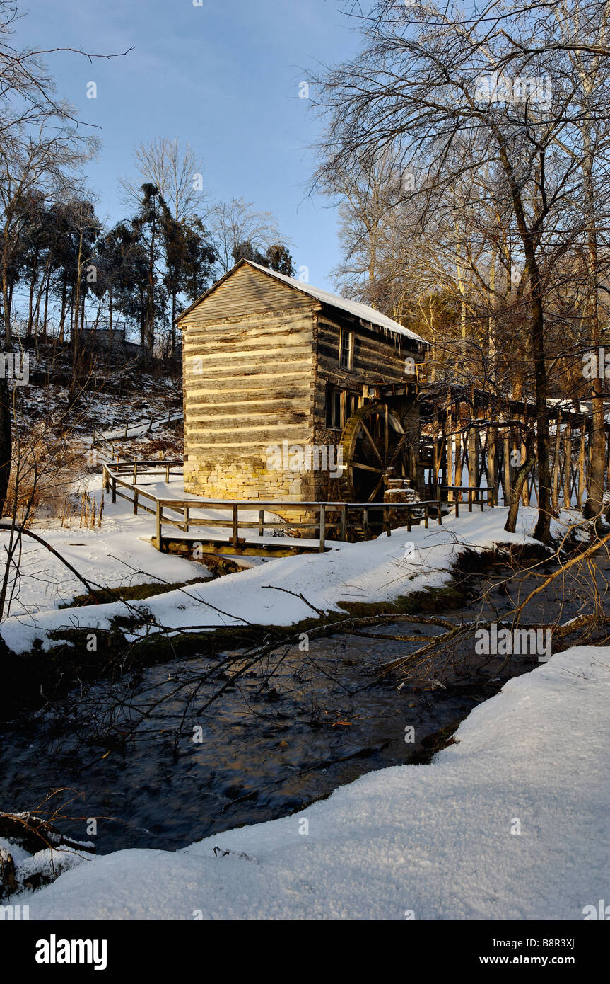 Squire Boone Grist Mill and Snow in Harrison County Indiana - Stock Image