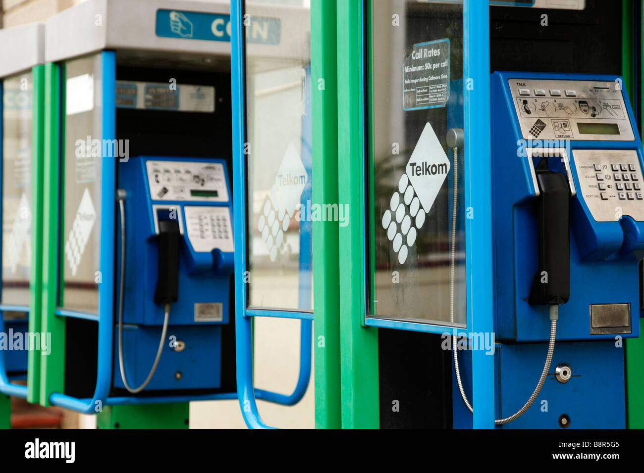 empty public payphone telephone kiosks voortrek street swellendam south africa - Stock Image