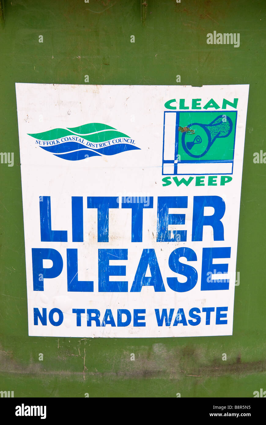 Sign on litter bin stating no trade waste,clean sweep by suffolk coastal district council - Stock Image