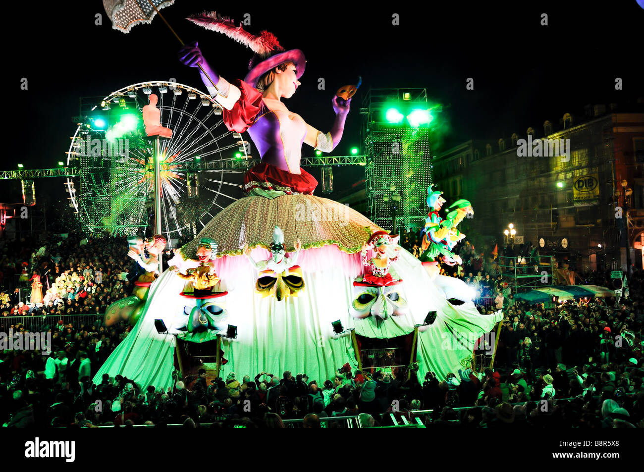Nice France, Public Events, Carnival Parade, Huge Floats on Street at Night - Stock Image