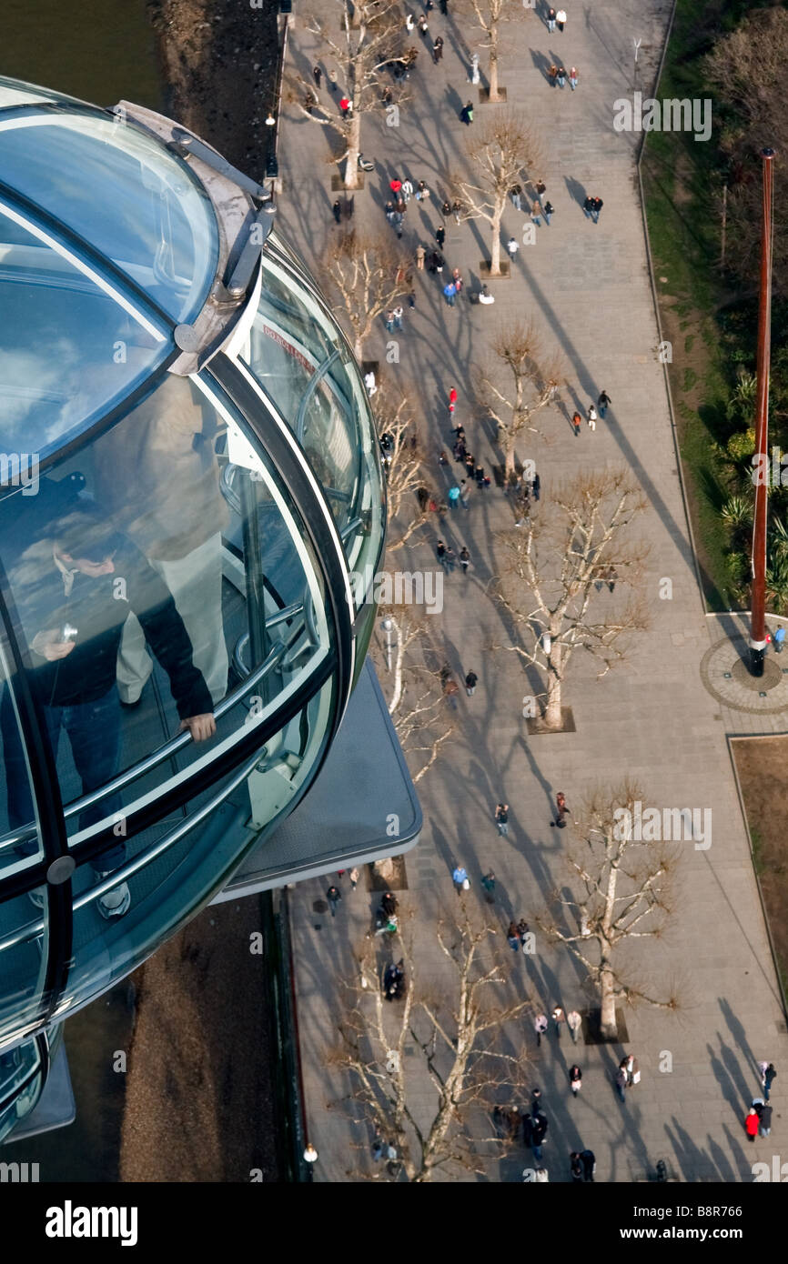 View down from London Eye to the pedestrians on the pavement below Stock Photo