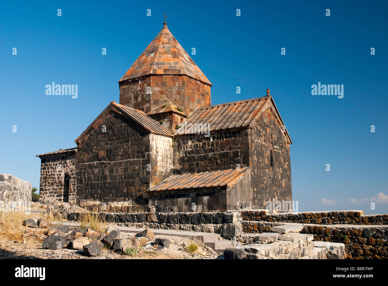 old christian church armenia caucasus architecture lake sevan - Stock Image