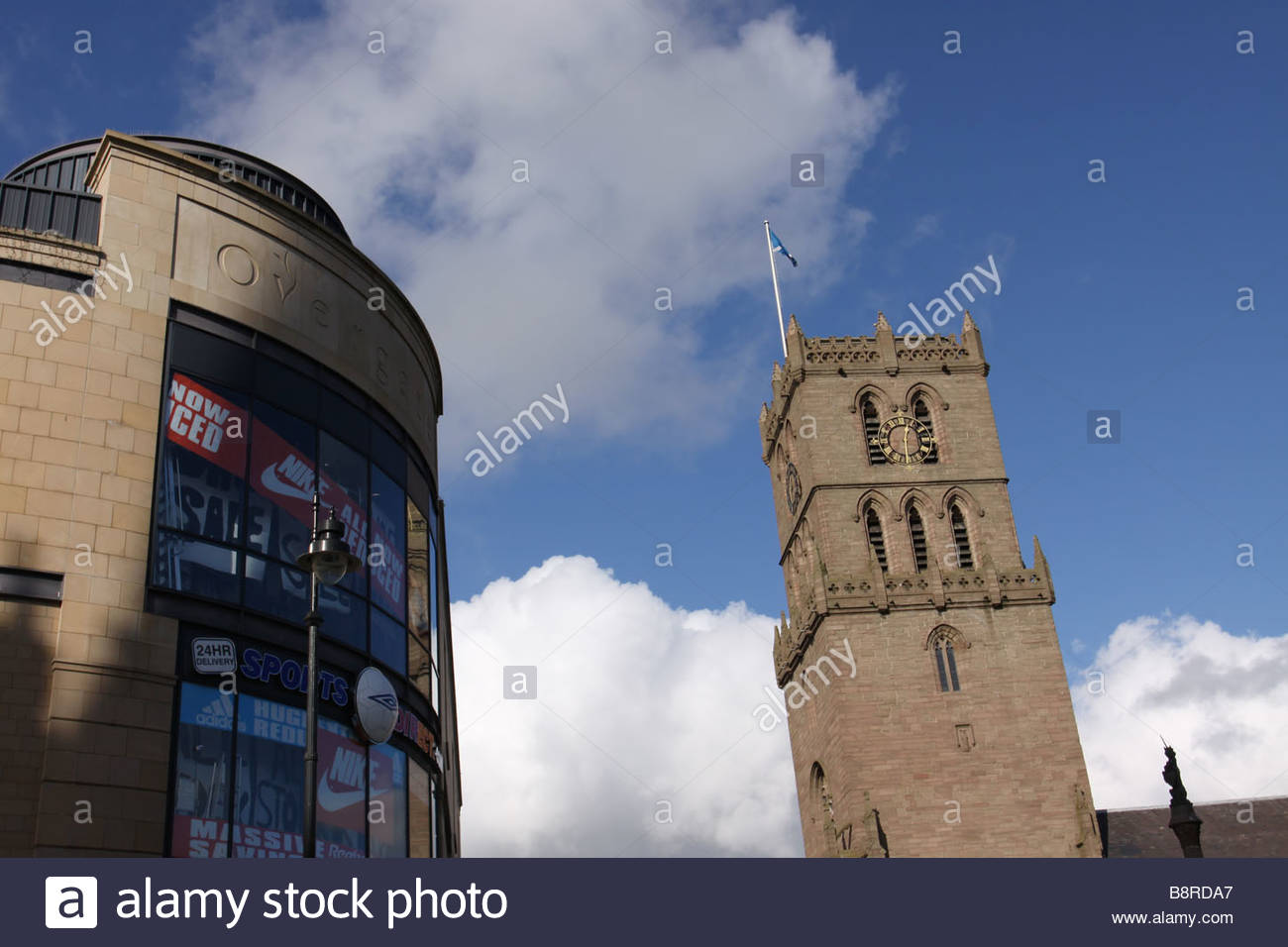 Auld Steeple church and Overgate shopping Centre in Dundee City Centre  February 2009 Stock Photo