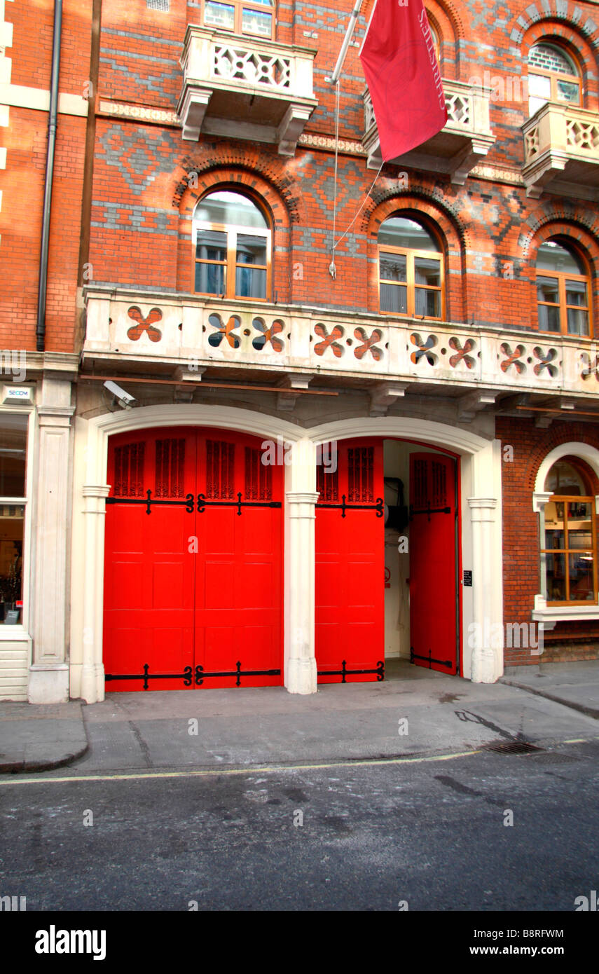 The rear entrance to Christies Auction house, a former Fire Station in London, England. Mar 09 - Stock Image
