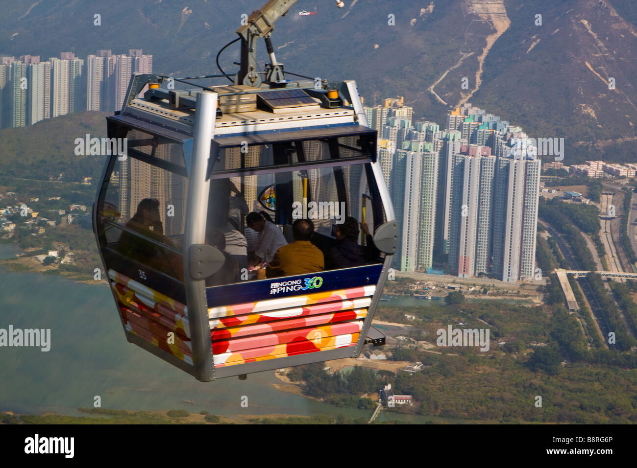 Skyrail 360 Cable Car to Ngong Ping Lantau Island Stock Photo