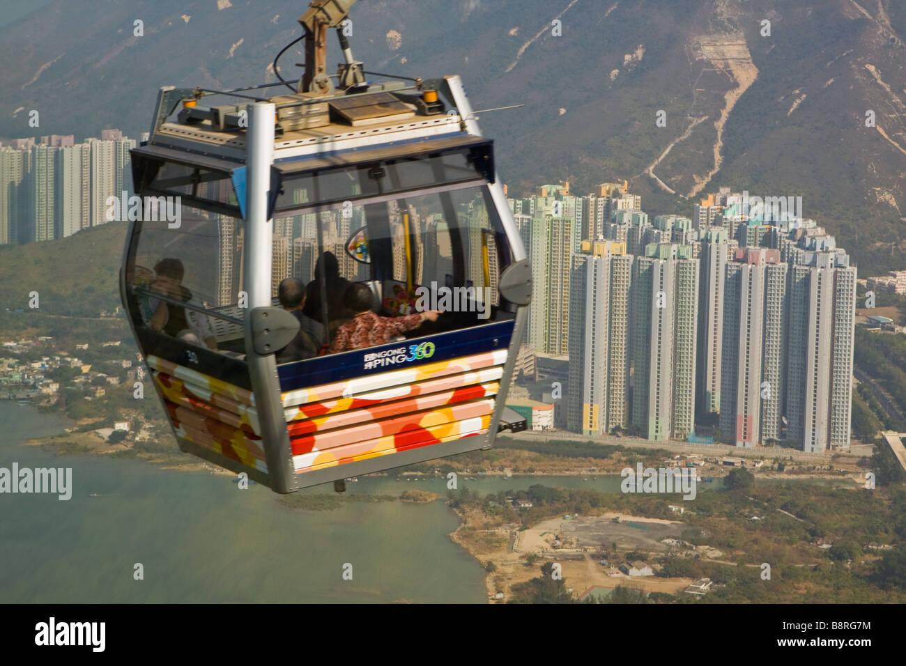 Skyrail 360 Cable Car to Ngong Ping Lantau Island - Stock Image