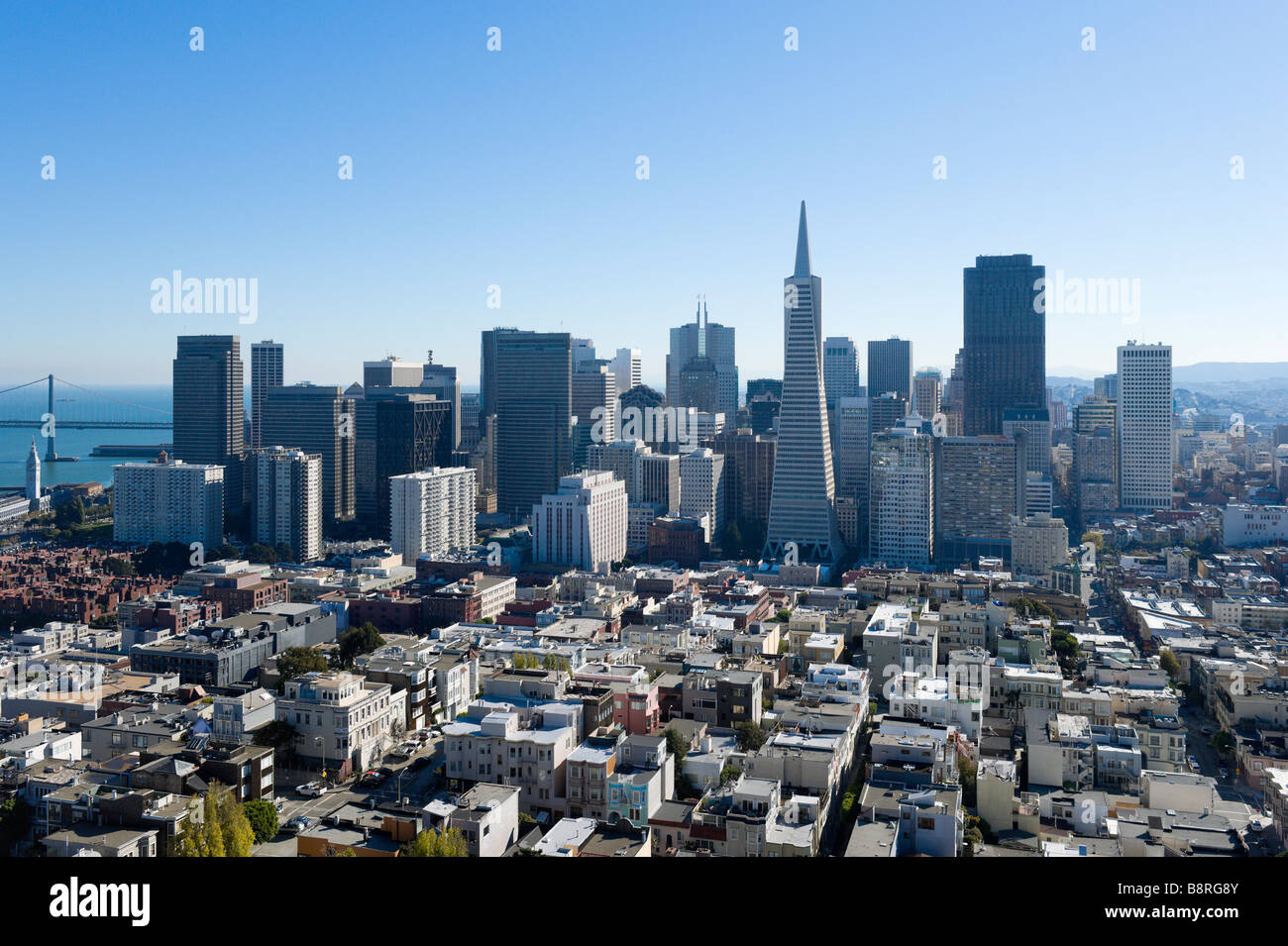 The downtown financial district from the top of the Coit Tower onTelegraph Hill, San Francisco, California, USA Stock Photo