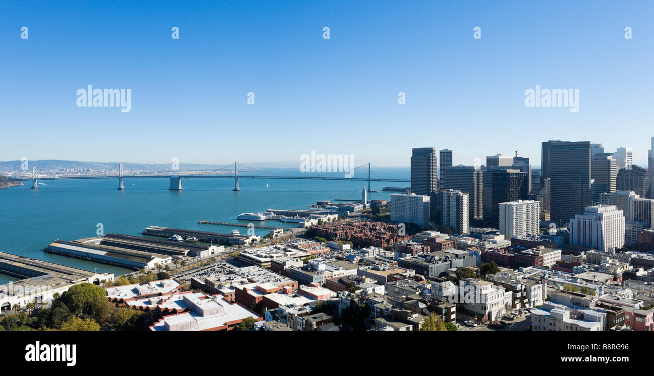 The Oakland Bay Bridge and financial district from the top of the Coit Tower on Telegraph Hill, San Francisco, California Stock Photo