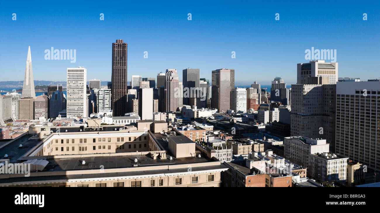 The downtown financial district from the Interncontinental Mark Hopkins Hotel, Nob Hill, San Francisco, California, - Stock Image